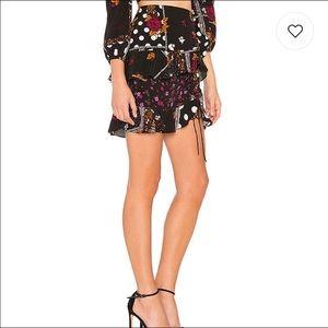 For love and lemons floral ruffle mini skirt
